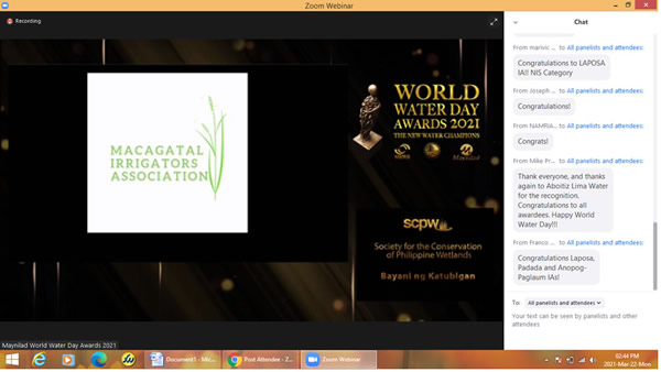 Macagatal Irrigators Association and Project NexCities Recognized at World Water Day Awards 2021